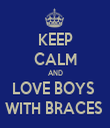 KEEP CALM AND LOVE BOYS  WITH BRACES  - Personalised Tea Towel: Premium