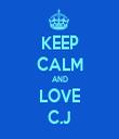 KEEP CALM AND LOVE C.J - Personalised Tea Towel: Premium