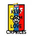 KEEP CALM AND LOVE CAPRILES - Personalised Tea Towel: Premium
