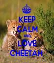 KEEP CALM AND LOVE CHEETAH  - Personalised Tea Towel: Premium