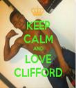 KEEP CALM AND LOVE CLIFFORD - Personalised Tea Towel: Premium