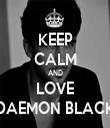 KEEP CALM AND LOVE DAEMON BLACK - Personalised Tea Towel: Premium