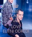 KEEP CALM AND LOVE ELITNI ODREDI - Personalised Tea Towel: Premium