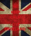 KEEP CALM AND LOVE  ENGELAND  - Personalised Tea Towel: Premium