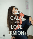 KEEP CALM AND LOVE ERMIONI - Personalised Tea Towel: Premium