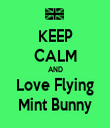KEEP CALM AND Love Flying Mint Bunny - Personalised Tea Towel: Premium