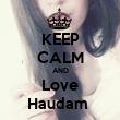 KEEP CALM AND Love Haudam  - Personalised Tea Towel: Premium