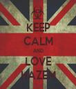 KEEP CALM AND LOVE HAZEM - Personalised Tea Towel: Premium