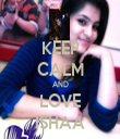 KEEP CALM AND LOVE ISHAA - Personalised Tea Towel: Premium