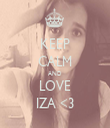 KEEP CALM AND LOVE IZA <3 - Personalised Tea Towel: Premium