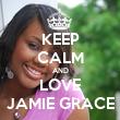 KEEP CALM AND LOVE JAMIE GRACE - Personalised Tea Towel: Premium