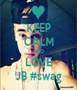 KEEP CALM AND LOVE JB #swag - Personalised Tea Towel: Premium