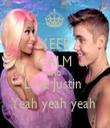 KEEP CALM AND Love Justin  Yeah yeah yeah  - Personalised Tea Towel: Premium