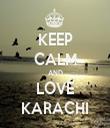 KEEP CALM AND LOVE KARACHI - Personalised Tea Towel: Premium