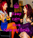 Keep calm  and  love Katie and Emily - Personalised Tea Towel: Premium