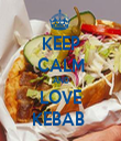 KEEP CALM AND LOVE KEBAB  - Personalised Tea Towel: Premium