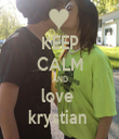 KEEP CALM AND love  krystian  - Personalised Tea Towel: Premium