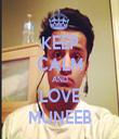 KEEP CALM AND LOVE MUNEEB - Personalised Tea Towel: Premium