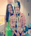 KEEP CALM AND LOVE NASHLENE - Personalised Tea Towel: Premium