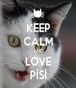 KEEP CALM AND LOVE PİSİ - Personalised Tea Towel: Premium