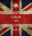 KEEP CALM AND LOVE R.A.S - Personalised Tea Towel: Premium