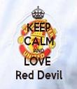KEEP CALM AND LOVE  Red Devil - Personalised Tea Towel: Premium
