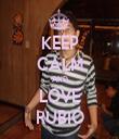 KEEP CALM AND LOVE RUBIO - Personalised Tea Towel: Premium