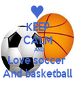 KEEP CALM    AND  Love soccer  And basketball - Personalised Tea Towel: Premium