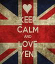 KEEP CALM AND LOVE YENI - Personalised Tea Towel: Premium