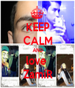 KEEP CALM AND love  ZamiR - Personalised Tea Towel: Premium