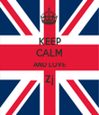KEEP CALM AND LOVE Zj  - Personalised Tea Towel: Premium