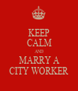 KEEP CALM AND MARRY A CITY WORKER - Personalised Tea Towel: Premium