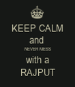 KEEP CALM and  NEVER MESS with a RAJPUT - Personalised Tea Towel: Premium