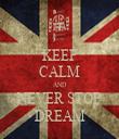 KEEP CALM AND NEVER STOP DREAM - Personalised Tea Towel: Premium