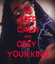 KEEP CALM AND OBEY  YOUR KING - Personalised Tea Towel: Premium