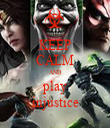 KEEP CALM AND play injustice - Personalised Tea Towel: Premium