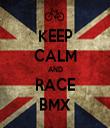 KEEP CALM AND RACE BMX - Personalised Tea Towel: Premium