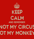 KEEP CALM AND REMEMBER NOT MY CIRCUS NOT MY MONKEYS - Personalised Tea Towel: Premium
