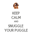 KEEP CALM AND SNUGGLE  YOUR PUGGLE - Personalised Tea Towel: Premium