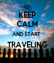 KEEP CALM AND START  TRAVELING  - Personalised Tea Towel: Premium
