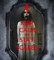 KEEP CALM AND STAY SCARED - Personalised Tea Towel: Premium