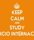 KEEP CALM AND STUDY COMERCIO INTERNACIONAL - Personalised Tea Towel: Premium
