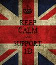 KEEP CALM AND SUPPORT  1D - Personalised Tea Towel: Premium