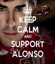 KEEP CALM AND SUPPORT ALONSO - Personalised Tea Towel: Premium