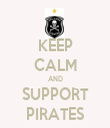 KEEP CALM AND SUPPORT PIRATES - Personalised Tea Towel: Premium