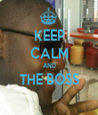 KEEP CALM AND THE BOSS  - Personalised Tea Towel: Premium