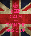 KEEP CALM AND TURN THE MUSIC UP - Personalised Tea Towel: Premium