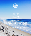 KEEP CALM AND VOTE NATHANIEL JACOBS Sophomore Vice Pres.  - Personalised Tea Towel: Premium
