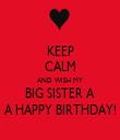 KEEP CALM AND WISH MY BIG SISTER A A HAPPY BIRTHDAY! - Personalised Tea Towel: Premium