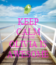 KEEP CALM BECAUSE OLIVIA IS AWESOME - Personalised Tea Towel: Premium